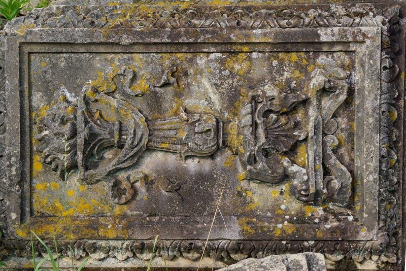 Sluit omhoog van oud gesneden rots listig de bouwdeel royalty-vrije stock fotografie