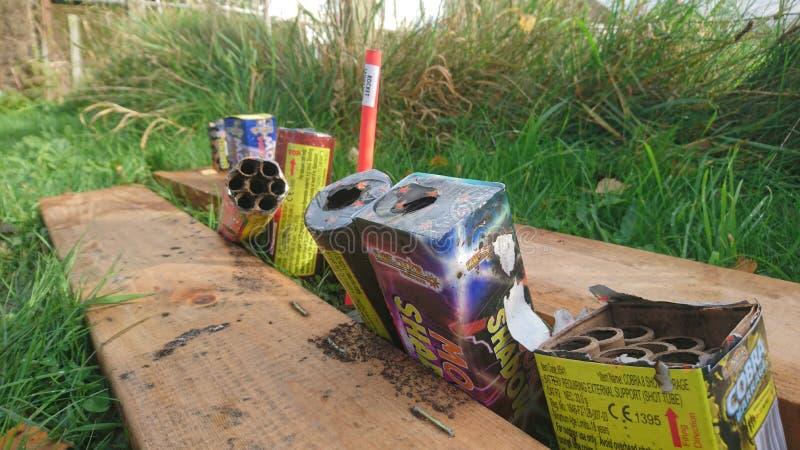 Sluit omhoog van oud vuurwerk na een partij royalty-vrije stock foto