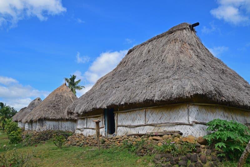 Sluit omhoog van rij van Fijian bure in Navala, een dorp in de Bedelaarshooglanden van noordelijke centrale Viti Levu, Fiji stock afbeelding