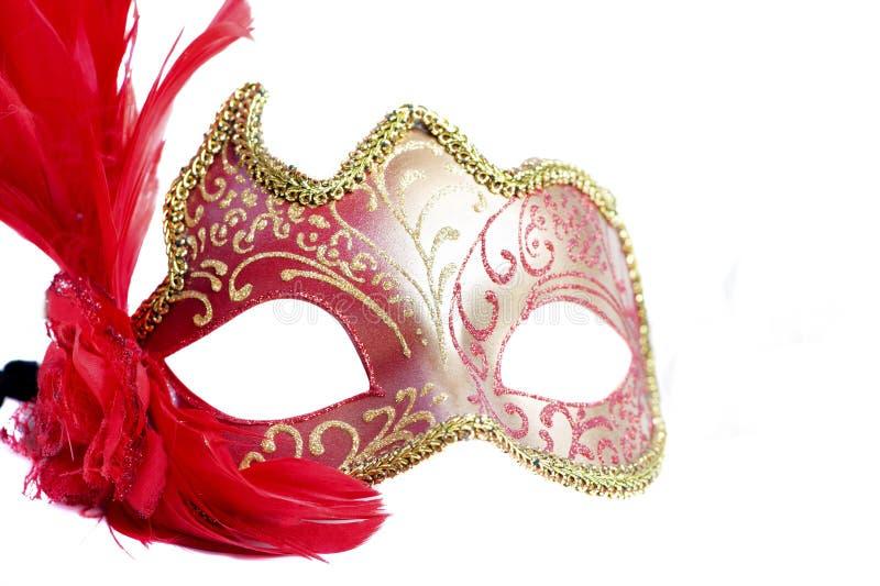 Sluit omhoog van rood Carnaval-masker op wit - mardigras royalty-vrije stock foto's