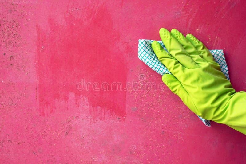 Sluit omhoog van schoonmakende de vormpaddestoel van de persoonshand van muur gebruikend vod royalty-vrije stock foto's