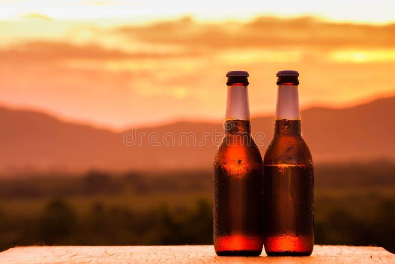 Sluit omhoog van twee bierflessen Bergachtergrond stock afbeelding