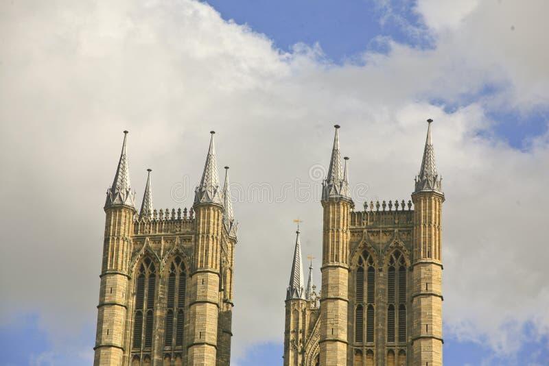 Sluit omhoog van Twee Torens Lincoln Cathedral stock fotografie