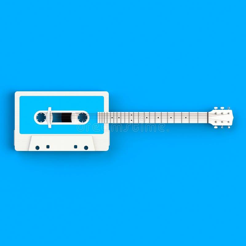 Sluit omhoog van uitstekende audiobandcassette met de akoestische illustratie van het gitaarconcept op blauwe achtergrond stock foto