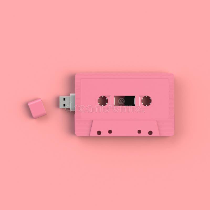 Sluit omhoog van USB-flashstation in uitstekende roze audio het conceptenillustratie van de bandcassette die op roze achtergrond  stock foto's