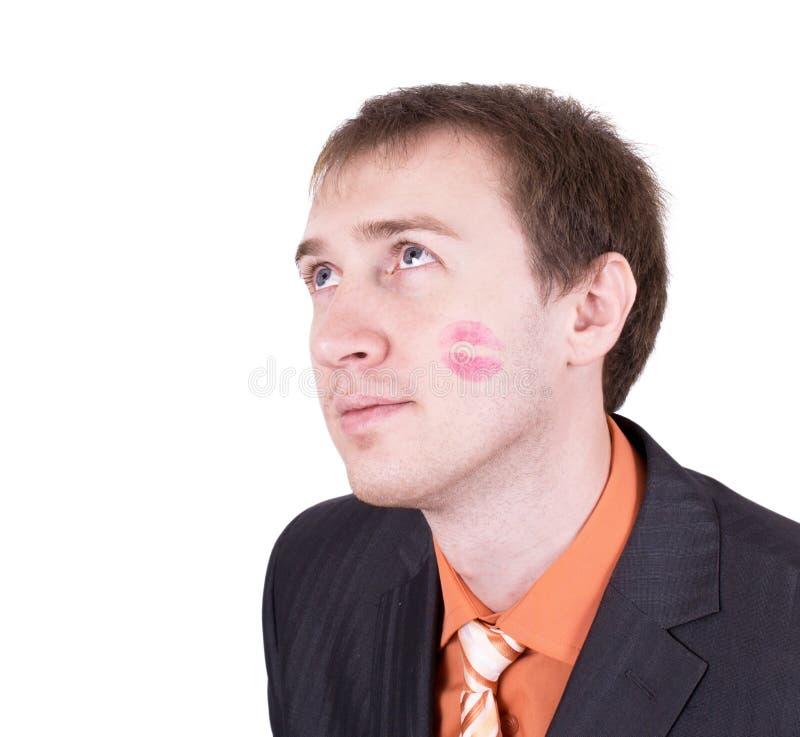 Sluit omhoog van verbaasd gekust mensengezicht royalty-vrije stock afbeeldingen