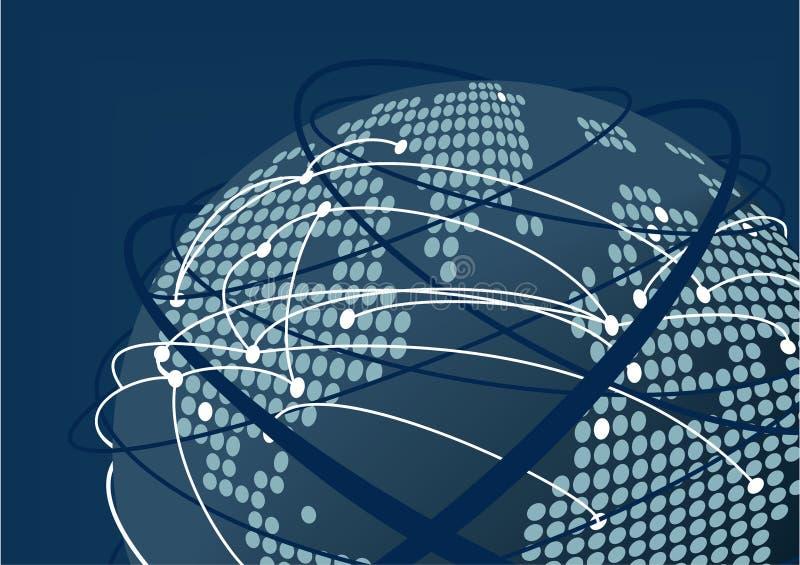 Sluit omhoog van verbonden wereld als illustratie Donkerblauwe vage achtergrond en bol met gestippelde wereldkaart vector illustratie