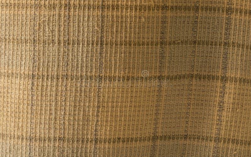 Sluit omhoog van verfrommelde stoffentextuur, de textielachtergrond van de linnendoek van lichte stof met Kruiselingse golf Natuu royalty-vrije stock afbeeldingen