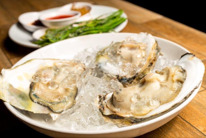 Sluit omhoog van Verse geopende die oester als hoogste mening over verpletterd ijs in witte schotel op houten lijst wordt aangebo royalty-vrije stock foto's