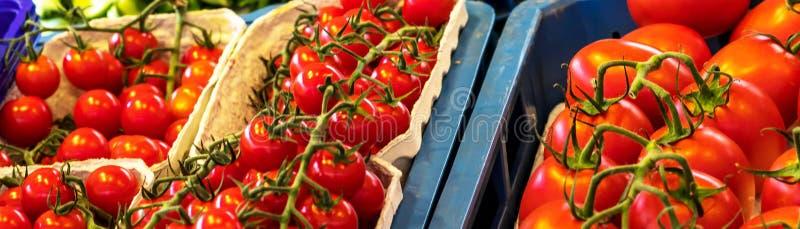 Download Sluit Omhoog Van Verse Organische Tomaten Bij Openluchtmarkt Stock Afbeelding - Afbeelding bestaande uit vers, naughty: 114228153