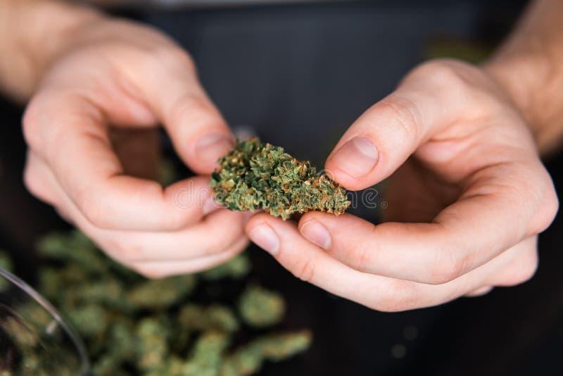 Sluit omhoog Sluit omhoog van verslaafdenverlichting op marihuanaverbinding met aansteker Drugs verdovend concept Mens die een ma stock fotografie