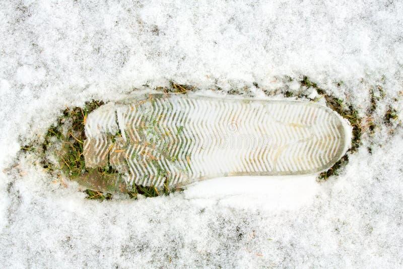Sluit omhoog van voetafdruk op sneeuw op groen gras Voetstap op sneeuw op groen gras stock afbeelding