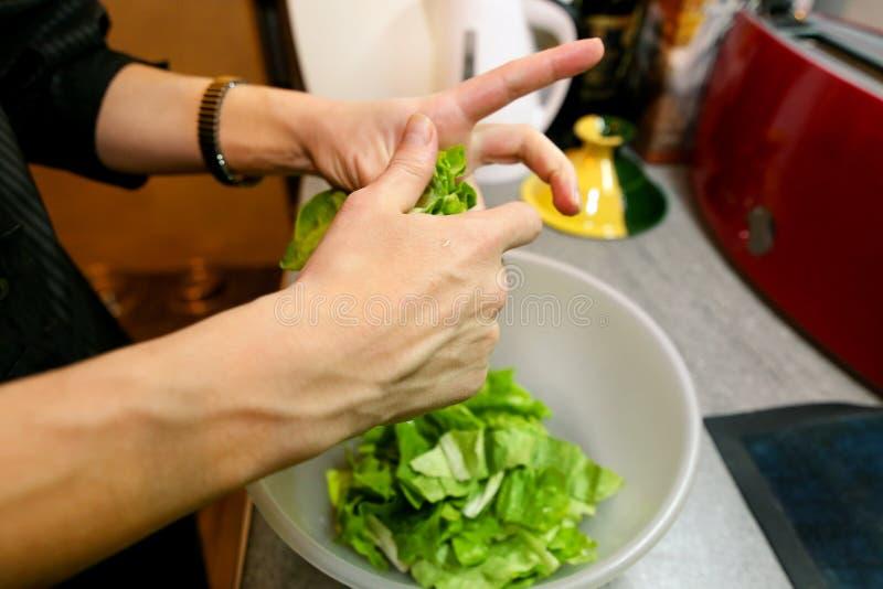 Sluit omhoog van vrouwelijke handen en vrouw die groene salade voorbereiden, die in keuken koken Huisvrouw het snijden en voorber stock fotografie