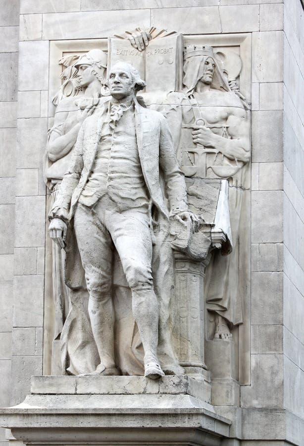 Sluit omhoog van ` Washington gecombineerd met Wijsheid en Rechtvaardigheid ` door Alexander Stirling Calder stock afbeelding