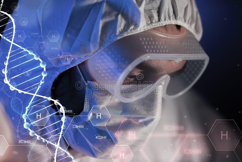 Sluit omhoog van wetenschappergezicht in chemisch laboratorium vector illustratie