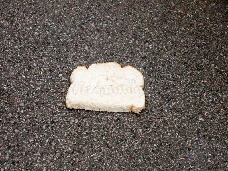 Sluit omhoog van wit brood op natte gelaten vallen bestratingsvloer royalty-vrije stock foto