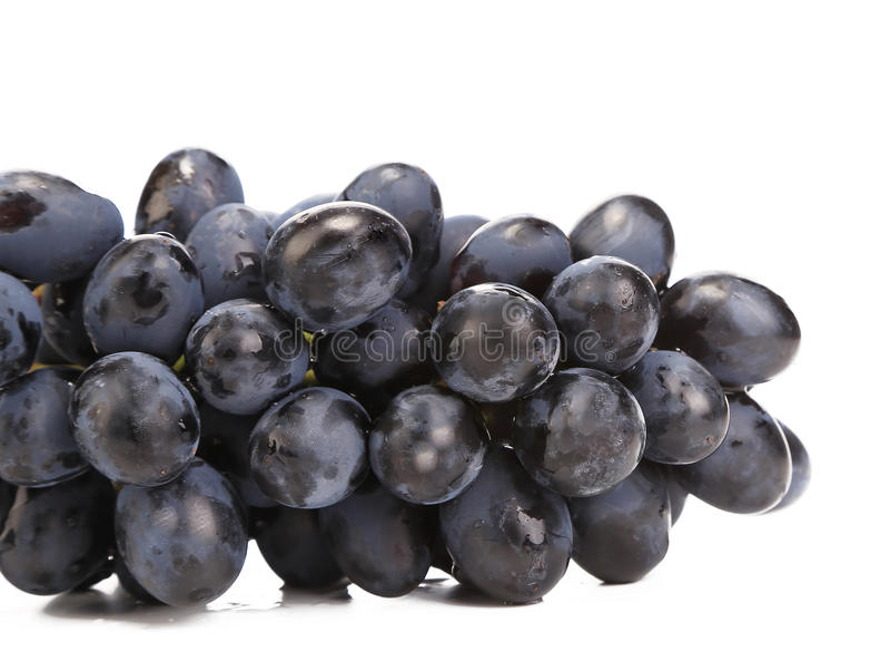 Sluit omhoog van zwarte rijpe druiven. stock foto's