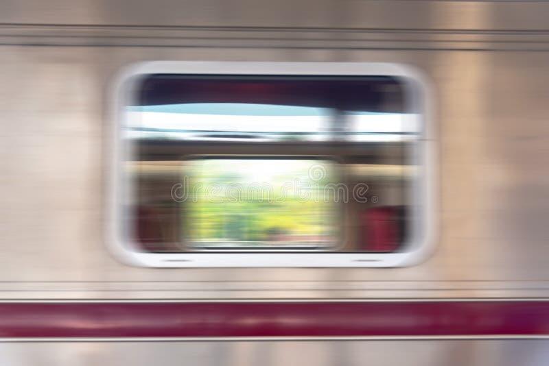 Sluit omhoog venster van Treinboeman om abstracte onduidelijk beeldstijl te beduiden stock foto's