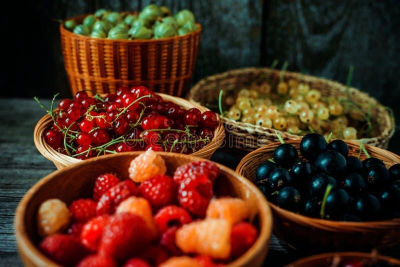 Sluit omhoog verschillend soort manden met vruchten op uitstekende houten achtergrond Rode, zwart-witte bes, groene en rode kruis royalty-vrije stock foto
