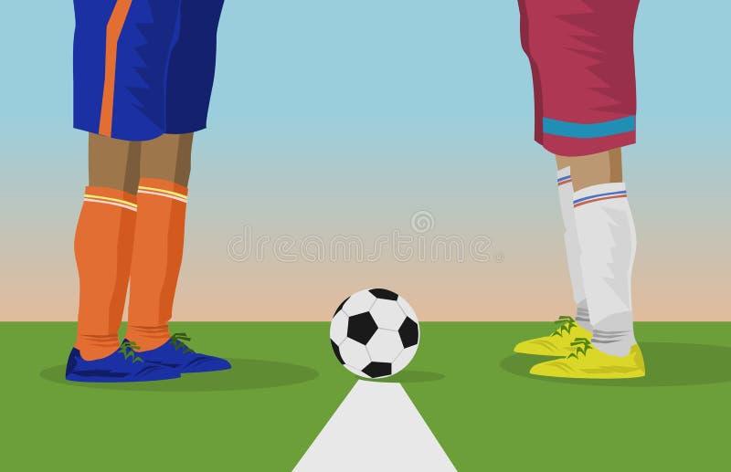 Sluit omhoog voet van twee voetballers en de voetbalballen beginnen om voetbalwedstrijden te spelen vector illustratie