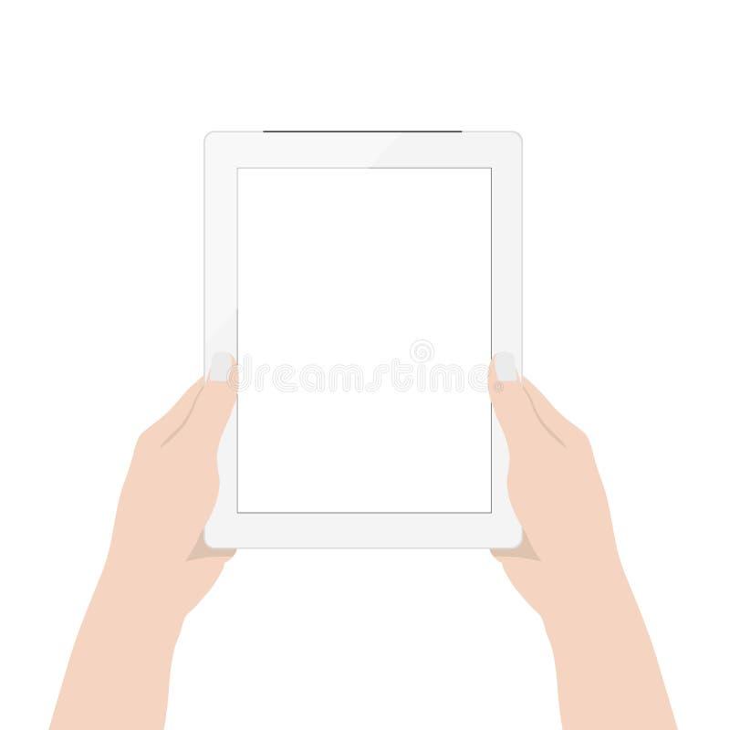 Sluit omhoog vrouwenhand gebruikend digitale lege het schermvertoning van de tablettechnologie op wit stock illustratie