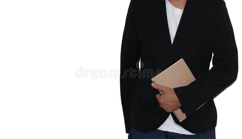 Sluit omhoog zaken van een zakenman die een kostuum dragen houdend een document op een witte achtergrond Foto met selectieve nadr royalty-vrije stock foto