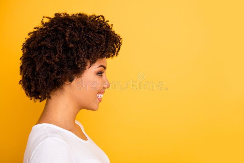 Sluit omhoog zij mooi profielfoto die zij haar donkere huiddame die kijken leeg ruimte opgewekt lachgelach glimlachen verbazen stock foto