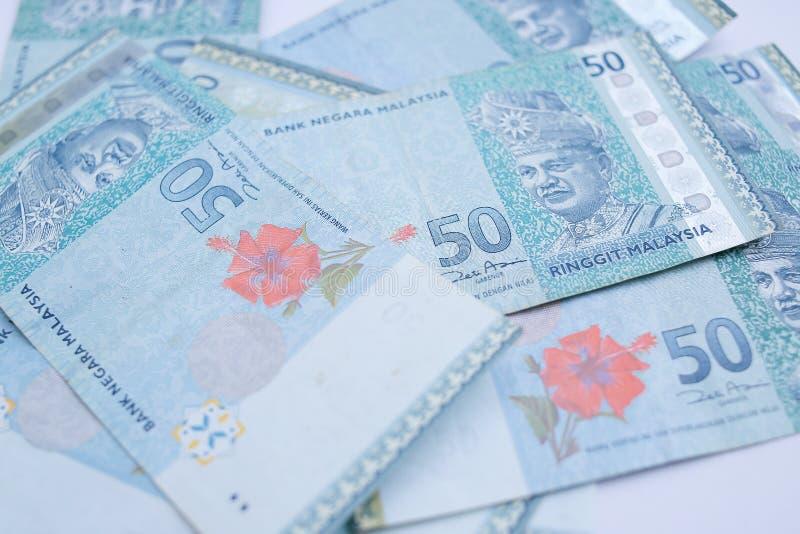 Sluit 50 ringgits omhoog het bankbiljet van Maleisi? Ringgit is de nationale valuta van Maleisi? royalty-vrije stock foto