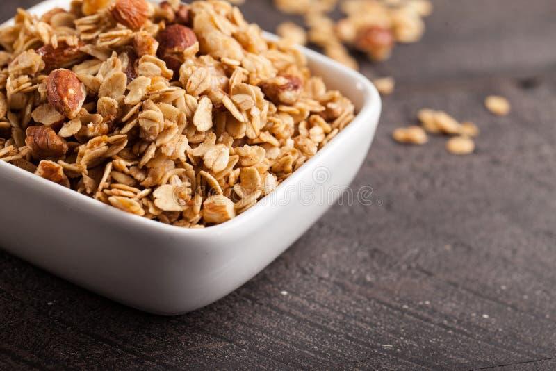 Sluit schot van granola royalty-vrije stock afbeelding