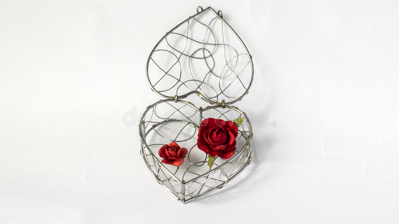 Sluit Uw Hartconcept, de Enige Abstracte Container van het Krommestaal in Hart zoals Vorm met Document Rode Rozen op Witte Achter royalty-vrije stock afbeeldingen
