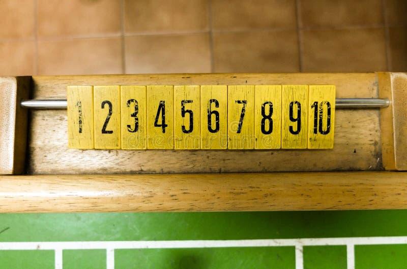 Sluit van Aantal omhoog een de Voetbalspel van de Lijstbovenkant stock foto