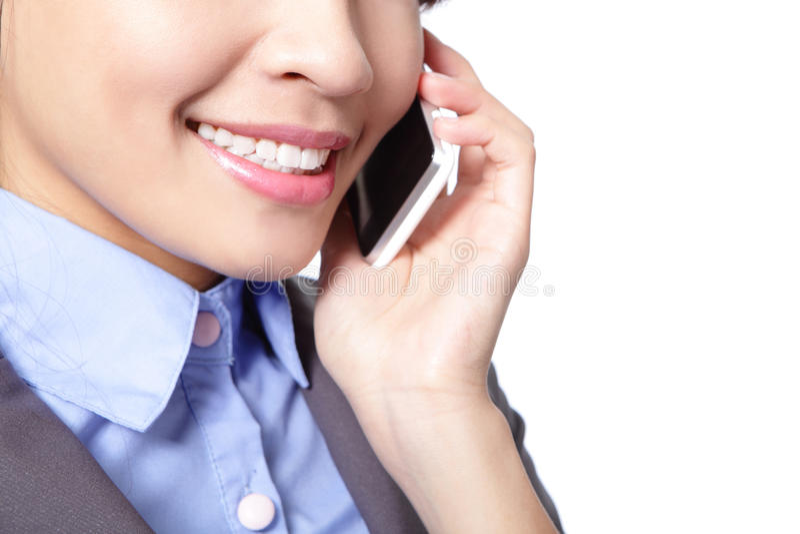 Sluit van bedrijfsvrouw spreekt omhoog telefoon stock foto