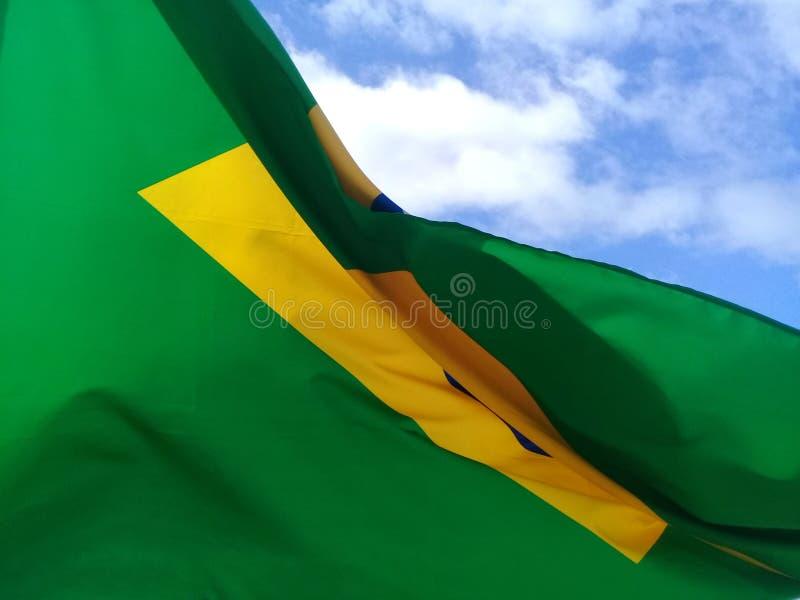 Sluit van Braziliaanse vlag die in een blauwe hemel fladderen stock foto