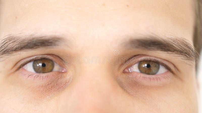 Sluit van omhoog mannelijke ogen Detail van bruine ogen van een mens die camera bekijken royalty-vrije stock afbeeldingen