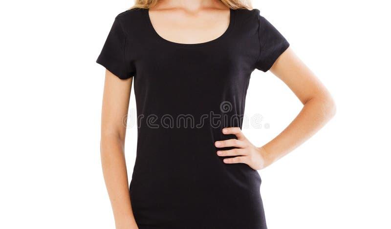 Sluit vrouw in modieuze zwarte die t-shirt over wit omhoog wordt ge?soleerd royalty-vrije stock foto