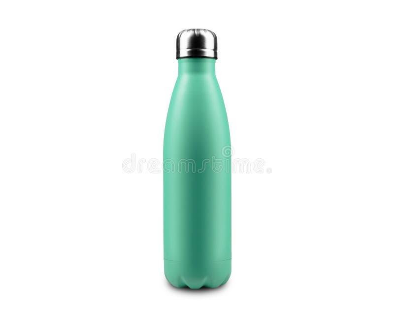 Sluiten van herbruikbare stalen thermo-eco-flessen voor water, geïsoleerd op witte achtergrond, kleur van Aqua Menthe stock illustratie
