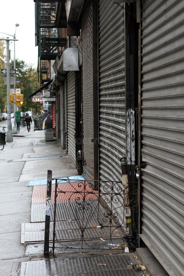 Sluiting NYC --Zandige orkaan stock afbeelding