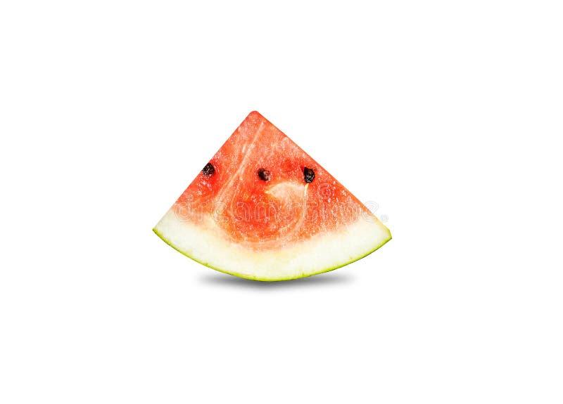Sluiting van bepaalde stukken verfrissende watermeloen op een witte achtergrond royalty-vrije stock afbeeldingen