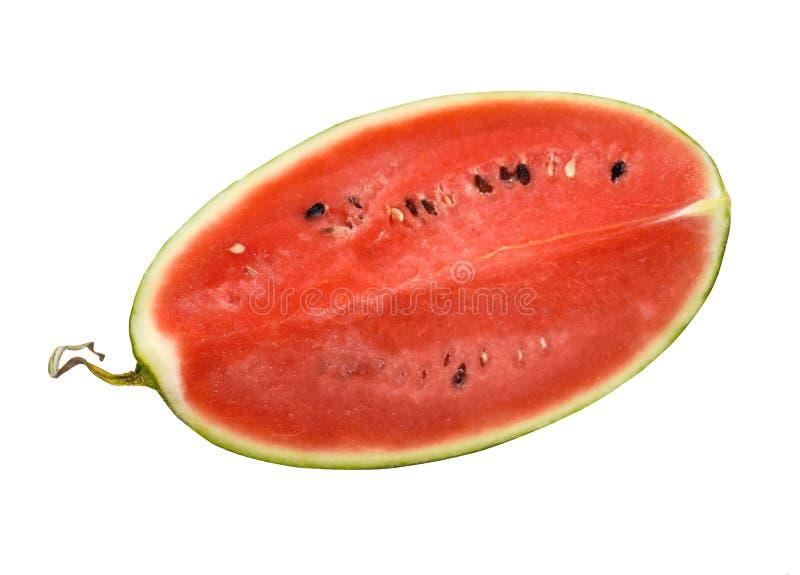 Sluiting van bepaalde stukken verfrissende watermeloen op een witte achtergrond stock foto