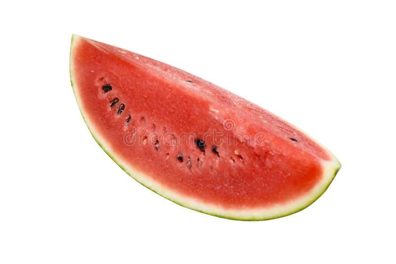 Sluiting van bepaalde stukken verfrissende watermeloen op een witte achtergrond stock afbeelding