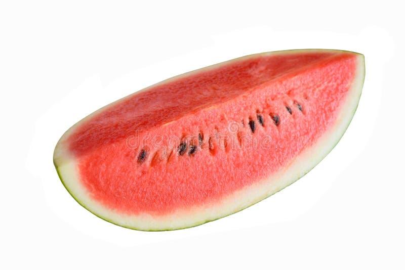 Sluiting van bepaalde stukken verfrissende watermeloen op een witte achtergrond royalty-vrije stock foto's