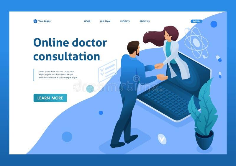 Sluiting van de overeenkomst voor online raadpleging van de arts Gezondheidszorgconcept 3d isometrisch De concepten van de landin royalty-vrije illustratie