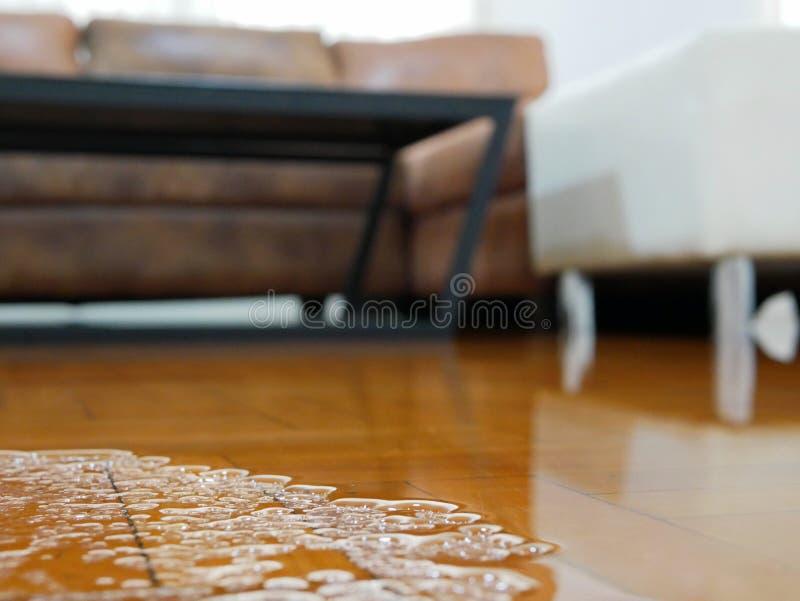Sluiting van de overstromingen op de vloer van het woonkamerparket in een huis - schade veroorzaakt door waterlekkage royalty-vrije stock foto's