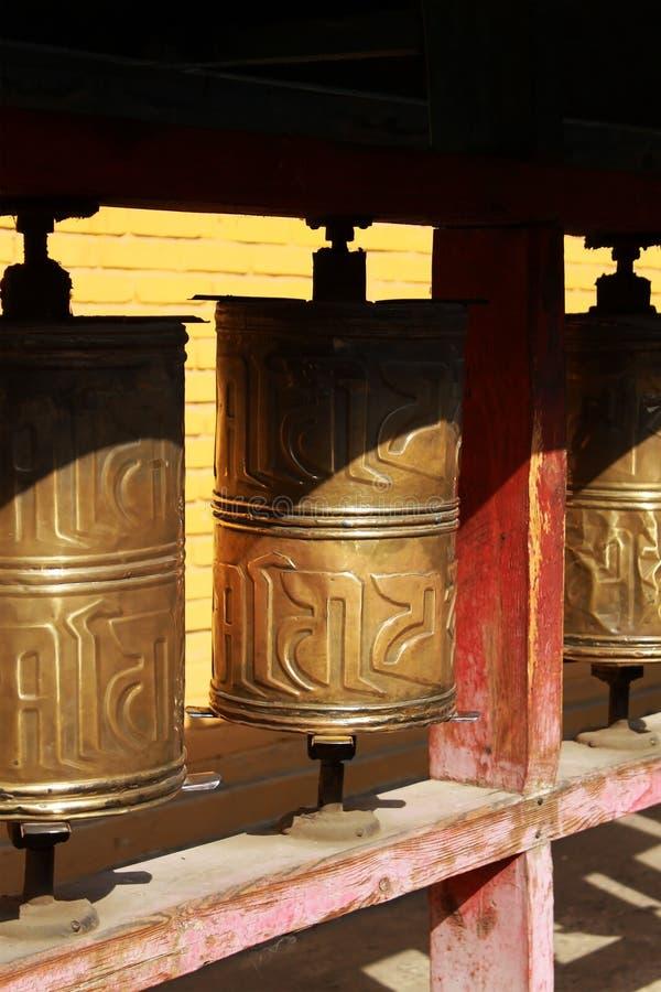Sluiting van gebedshuizen in het klooster Gandan , Ulaanbaatar of Ulan-Bator, Mongolië stock foto