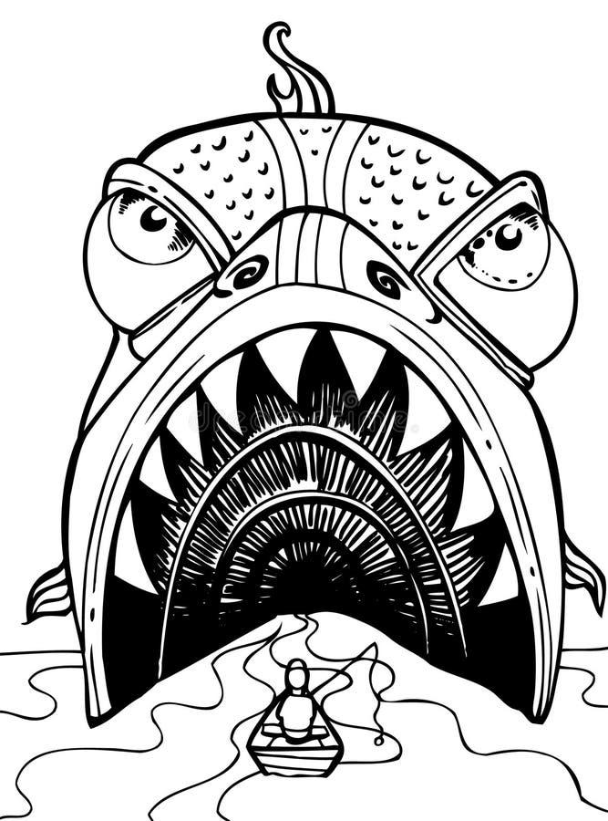 sluka fiskaren stock illustrationer