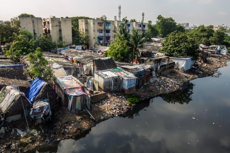 Slum area in Chennai, India. Chennai, India - December, 24th, 2017. View of slum area in Chennai stock photo