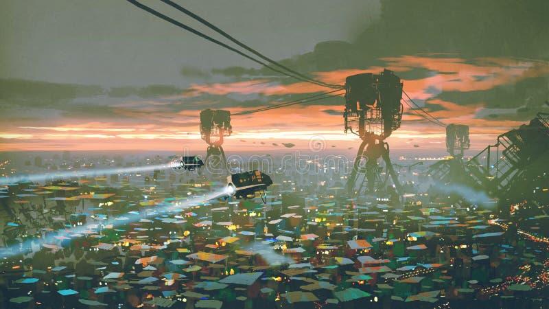 Slum city in futuristic world stock illustration