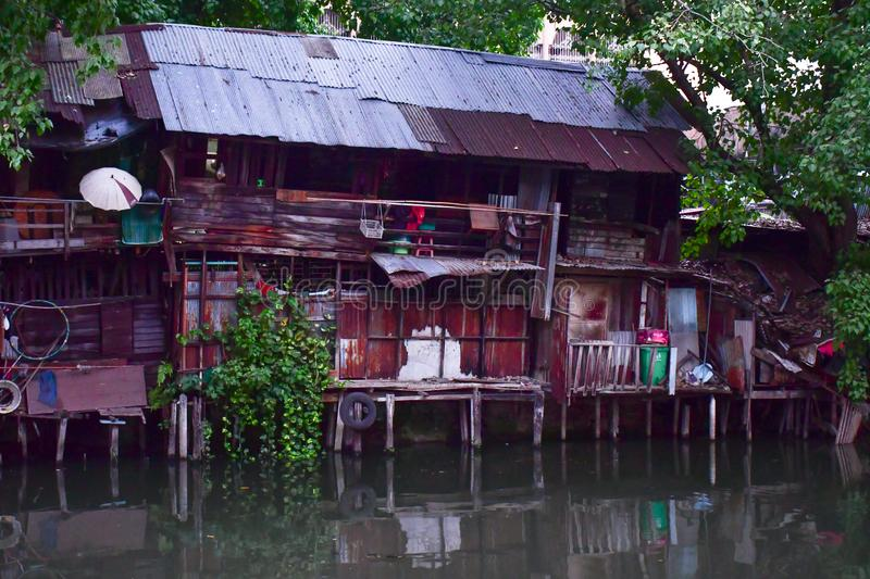 Slum and poverty in the streets of Bangkok stock image