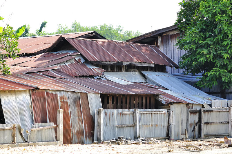 Slum Resident One House With A Zinc Sheet Stock Images