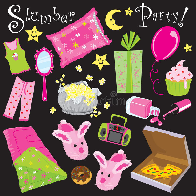 Slumber Party!. Party invitation for a sleep over party royalty free illustration